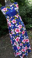 NOS Ui Maikai Vtg 1960s Maxi Hawaiina Dress Hostess Blue Pink Hibiscus Barkcloth