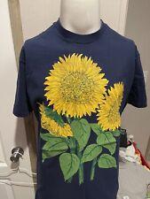 New ListingVintage 90's Giant Sunflowers Navy Blue Mens Cotton Nature T Shirt Large L