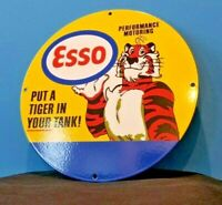 VINTAGE STYLE ESSO GASOLINE PORCELAIN GAS TIGER TANK SERVICE STATION PUMP SIGN