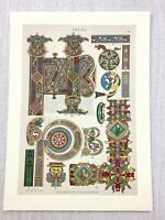 1883 Antique Print Celtic Art Design Illuminated Manuscript Typography Letters