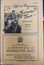 More details for swindon town v notts county 1949/50