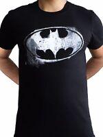 Batman Logo Mono Distressed Dark Knight Classic DC comics Black Mens T-shirt
