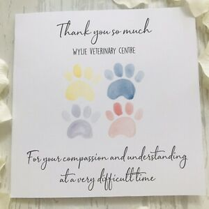 Personalised Veterinary Thank You Card Vet Understanding Loss of Pet Dog Cat