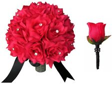2pc set:Hot pink Bridal bouquet Boutonniere Bling rhinestone wedding silk flower