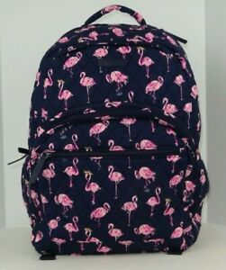 NWT Vera Bradley Essential Large Backpack FLAMINGO FIESTA Cotton Blue and Pink