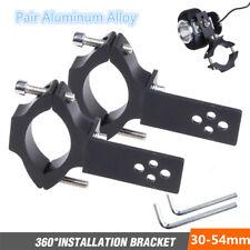 2X 30-54mm Motorcycle Headlight Mount Bracket Holder Clamp Aluminum Alloy Black