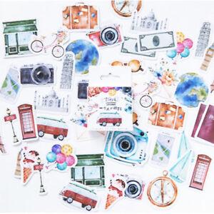 Set of 45 Watercolour Travel & Camera Mini Box Journalling Scrapbook Stickers