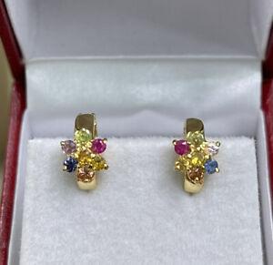 14k Solid Yellow Gold Kid Hoop Earrings Natural Color Sapphire. 2.36 Grams