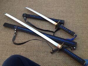 SAMURAI Two Sword Set Japanese Katana Forged Steel with Brass Tusba
