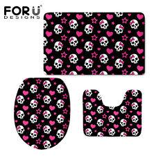 Cute Skull 3PC/Set Bath Mat Toilet Seat Cover Non-slip Shower Mats Bathroom Rugs