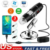 8LED 1600X 10MP USB Digital Microscope Endoscope Magnifier Camera w/ Stand