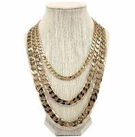 14k Italian Flat Cuban link Chain Necklace 7mm 10mm 12mm Gold Plated