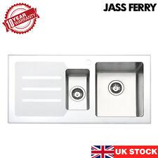 JASSFERRY New Stainless Steel Premium White Glass Top Kitchen Sink 1.5 Bowl