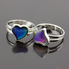 Color Changing Silver-Plated Adjustable Ring Band Heart-Shaped Mood Ring New FR