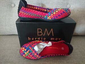New Bernie Mev Catwalk Elastic Woven Stretch Shoes Size 38 Red Multi Coloured
