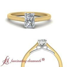 Solitaire 1/2 Carat Radiant Cut Diamond Cathedral Bow Style 2 Tone Wedding Ring