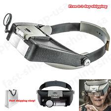 Jewelers Head Headband LED Magnifier Magnifying Glasses Light Visor Loupe NEW