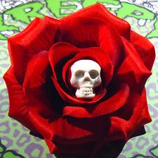 WHITE SKULL BLOOD RED ROSE ROCKABILLY HAIR FLOWER