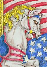 New listing Usa rwb Carousel horse Stallion Aceo Ebsq Kim Loberg Mini Art Flag star Stripe