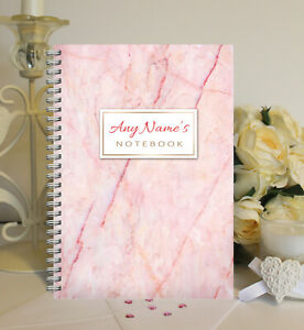 Personalised A5 Softbacked Notebook, wire bound, Pink Marble themed for her