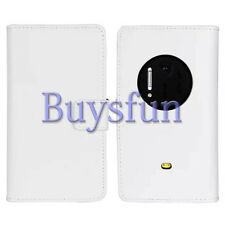 Bfun White Genuine Real Leather Card Slot Wallet Case Cover For Nokia Lumia 1020