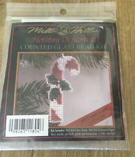 Cross stitch Kit Mill Hill Holiday Ornament Candycane Counted Glass Bead Kit New