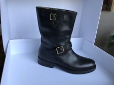 BURBERRY 'WINGFIELD' BLACK LEATHER MOTO BIKERS BOOTS NOVA CHECK SIZE 40