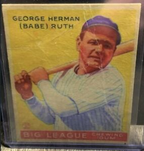 1933 Babe Ruth Goudey #53 Big League Yankees Yellow Card PSA