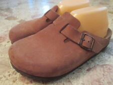BIRKENSTOCK BROWN SUEDE LEATHER ONE BUCKLE MULES CLOGS WOMENS EUR 38 US 8