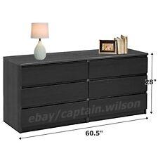 Bedroom Storage Dresser Chest Double 6 Drawer Modern Wood Furniture Black
