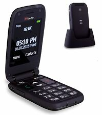 TTfone Meteor Plegable Big Button teléfono Móvil Senior de edad avanzada Sin SIM Negro