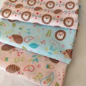 Hedgehog pink blue fabric by Michael Miller