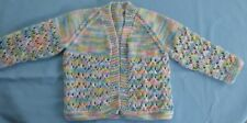 BABY HAND KNITTED JACKET MULTI COLOURED SUIT NEW BORN TO 3 MONTH OLD (51)