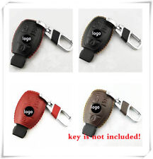 Calf Car Key Case Cover For Mercedes Benz Black Leather Fob Holder Keychains