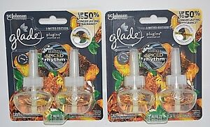 2 PACK GLADE PLUGINS SCENTED OIL SULTRY SPICED RHYTHM 4 REFILLS REFILL FRESHENER