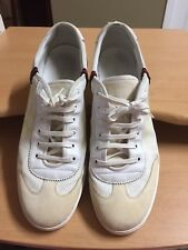Gucci White Leather / Canvas Low Top Sneakers Men's sz 14.5