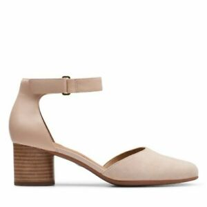 BNIB Clarks Un Structured Un Cosmo Strap Blush Leather & Suede Heeled Shoes