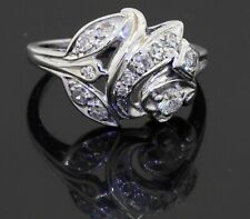Vintage 14K white gold VS 0.70CT diamond floral cluster cocktail ring size 8