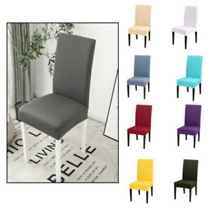 1/4/6PCS Dining Chair Covers Stretch Spandex Solid Color Chair Seat Slipcovers