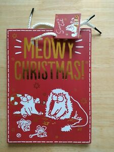 CHRISTMAS METALIC SIMON'S CAT RED AND GOLD GIFT BAG ( PRINT NOT PERFECT)