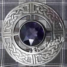 Celtic Kilt Fly Plaid Brooch Purple Stone Silver Antique Scottish Ladies Shawl