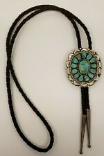 VTG NATIVE AMERICAN NAVAJO STERLING SILVER & 14 TURQUOISE COLOR STONES~BOLO TIE