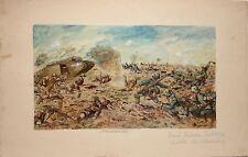 HERMANN SATTLER-German-Hand Signed/Inscribed Gouache-WWI Flanders Battle-1917