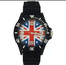 Ladies Gents unisex Fashion Union Jack Watch Bllack Silicone/Rubber 11B