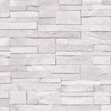 Grandeco Stone Pattern Wallpaper Faux Effect Realistic Embossed Brick - White (A17201)