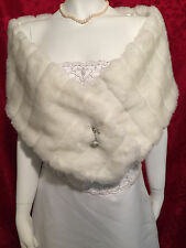 LONG IVORY Faux Fur Stole Shawl Shrug Wrap Cape Bridal