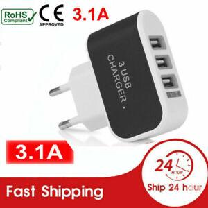 Schnell Ladegerät Mehrfachstecker Stecker 3 USB Netzteil Adapter Für Handy PC
