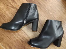 M&S BLACK PEEP TOE SHOE BOOTS SIZE 8 EUR 42 LADIES BNWT INSOLIA RP 39 ANKLE
