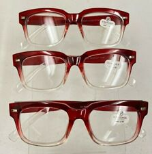 NEW 3 Pairs of Versona Red Clear Reading Glasses +2.50 Readers Designer 3 Pack