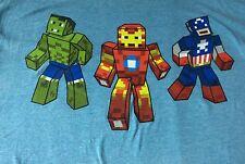 Marvel 8 Bit Superhero T Shirt Sz L EUC Blue Tee - Ironman Hulk Captain America
